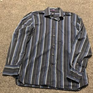 Gap fitted premium black and blue striped shirt